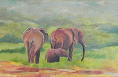 In de vakantietijd heb ik deze olifanten geschilderd. Olieverf.