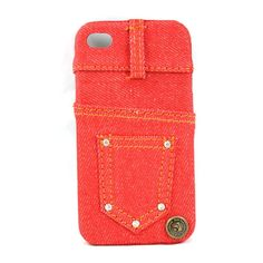 Creative Protective Jeans Style Case for iPhone 4/4S - mainly red US$5.92