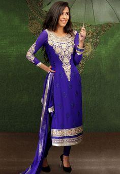 #Purple Faux Georgette #Churidar Kameez
