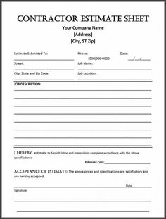 Construction Estimate Form Business Bids Contract Template Proposal