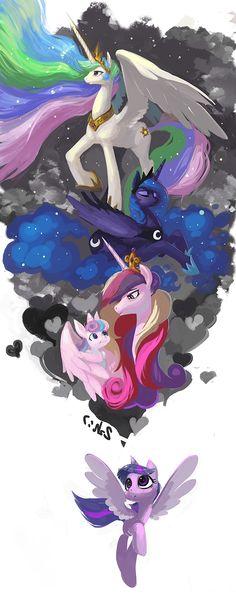 mlp art,my little pony,Мой маленький пони,фэндомы,Princess Celestia,Принцесса Селестия,royal,Princess Luna,принцесса Луна,Princess Cadence,принцесса Кейденс,Flurry Heart,Twilight Sparkle,Твайлайт Спаркл,mane 6