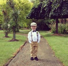 My vintage page boy wearing chinos, suspenders and bow tie