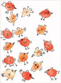 Painting with fingerprints. Painting with fingerprints. Preschool Art, Craft Activities For Kids, Diy Crafts For Kids, Art For Kids, Arts And Crafts, Kindergarden Art, Fingerprint Cards, Finger Art, Animal Doodles