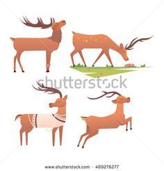 Christmas Deer Cartoon  Deer cartoon Vector file and Ecommerce logo