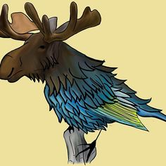 #bird #moose #elk #forest #wood #tree #winter #chimera