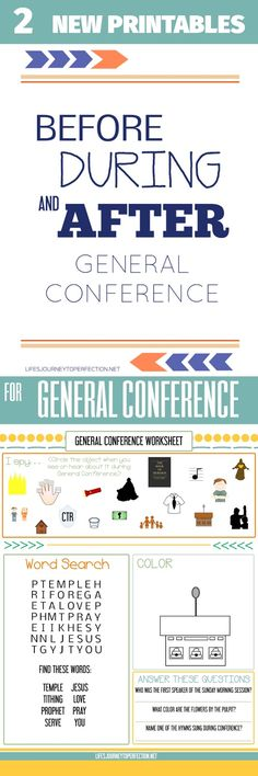 General Conference Packet and Worksheet! (Before, During and After General Conference) Great for LDS Primary kids, youth and adults Lds Conference, General Conference Quotes, General Conference Activities For Kids, Lds Primary, Primary Lessons, Primary Music, Activity Day Girls, Activity Days, Life's Journey To Perfection