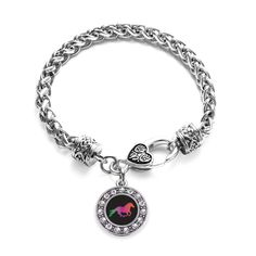 Horse Lovers Circle Charm Braided Bracelet