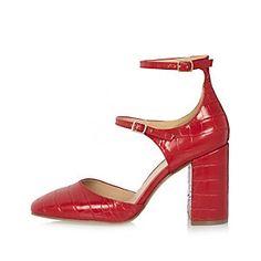 Chaussures rouges à deux brides et talons carrés - River Island