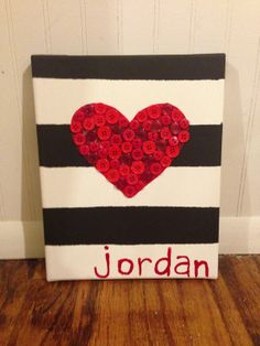 Canvas Painting - Heart - Name - Stripes