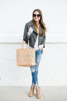 faux suede moto jacket outfit, american pagele shredded denim jeans, street style blogger, minneapolis blogger,