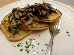 Savoury Pancakes with Garlic & Thyme Mushrooms.These are so simple and soooo delicious.
