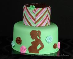 Baby shower cake by Cakes by Angela made with our Baby Bump Silicone Onlay