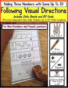 Autism - FOLLOWING VISUAL DIRECTIONS Addition Worksheets for NON-READERS & Data Special Education Classroom, Education Quotes For Teachers, Autism Classroom, Classroom Ideas, High School Activities, Math Activities, Cue Cards, Work Task, Addition Worksheets