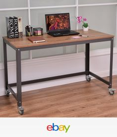 Rolling Computer Desk Metal PC Laptop Table Wood Study Home Office Workstation for sale online Mobile Computer Desk, Top Computer, Home Office Desks, Home Office Furniture, Office Plan, Furniture Ads, Pipe Furniture, Furniture Outlet, Online Furniture