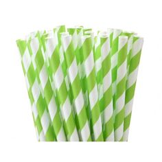 Paper Straws - Lime Green Stripes (25)