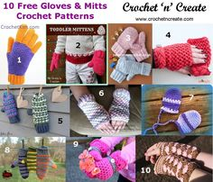10 Free Gloves and mitt patterns roundup http://crochetncreate.com/10-free-gloves-and-mitts-crochet-patterns #crochetncreate
