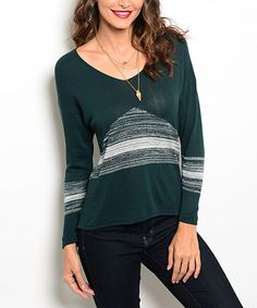 Another great find on #zulily! Dark Green & White Stripe Scoop Neck Sweater - Women #zulilyfinds