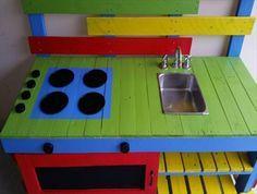 DIY Pallet Mud Kitchen for Your Kids | 99 Pallets