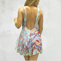 New Waterfall Overall Romper Gorgeous open back romper in a flowy light material. Has an overall cut with flowy bottom. Hidden back zipper no pockets.   Please message with questions  ~~{Tagged Urban Outfitters for exposure} Similar Styles-Nastygal free people urban outfitters UO Revolve Clothing lulus hm Zara forever acacia pink VS Urban Outfitters Pants Jumpsuits & Rompers