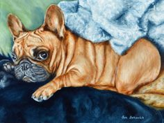 Christmas gift Idea, custom dog Painting, custom pet portrait, pet memorial,  Portrait Commission,French Bulldog, personalized pet art 9x12""