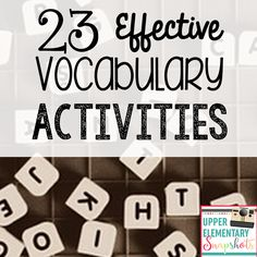 Know and apply grade-level phonics and word analysis skills in decoding words. Find 23 ready to use, effective vocabulary activities your students will love, by The Teacher Next Door! Teaching Vocabulary Activities, Vocabulary Strategies, Vocabulary Instruction, Vocabulary Practice, Word Work Activities, Vocabulary Words, Listening Activities, Spelling Activities, Camping Activities