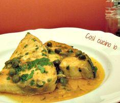 Pesce+spada+in+umido+ai+capperi,+ricetta+secondi+piatti+di+pesce