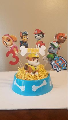 Paw Patrol Centerpiece by CelebratingDreams on Etsy 4th Birthday Parties, Happy Birthday Banners, 3rd Birthday, Paw Patrol Party, Paw Patrol Birthday, Paw Patrol Decorations, Paw Patrol Centerpieces, Paw Patrol Characters, Puppy Party