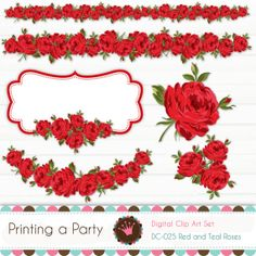 Digital Clipart Set Red and Teal Roses Personal by Printingaparty, $5.00