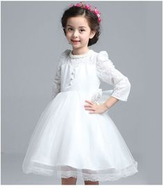 17.75$  Buy here - http://ali8fk.shopchina.info/1/go.php?t=32791729447 - Baby Girl Dress 2017 Summer Spring Children White Lace Girls Party Dresses Kids Princess Bowknot Flower Dress  #aliexpressideas