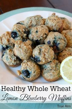 Healthy whole wheat lemon blueberry muffins. Low Sugar and packed with Blueberries