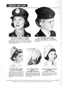 From the Army Quartermaster's Book of Uniforms for WACs, and Nurses. This page describes the different caps that nurses wore. Bottom left is the brown and white seersucker cap which was worn with the matching uniform. It laced in the back to hold shape, and unlaced to become flat, easy to launder and pack, no ironing required. The center bottom cap is the traditional white nurse's cap which had a gather at the back neckline to adjust the size and fit. History Of Nursing, Women's Army Corps, Flight Nurse, Vintage Nurse, Brave Women, War Photography, Female Soldier, Military Women, American War