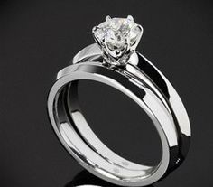 Classic Tiffany Style 1CT Round Cut Solitaire Russian Lab Diamond 14K White Gold Engagement Ring and Wedding Band Set