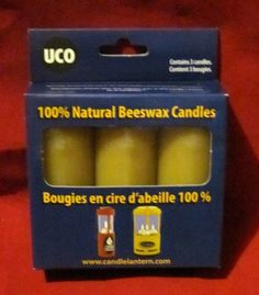 UCO 100% Natural Beeswax 12-15 Hour Candles 3pk Camping Survival Outdoors