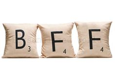 A set of Scrabble-themed pillows. | 27 Tokens Of Friendship You Need To Buy For Your BFF Right Now