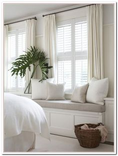 Bluff Dairies Chapter 37 – The Enchanted Home - Curtains Bedroom Curtains With Blinds, Bedroom Shutters, Living Room Decor Curtains, White Shutters, Curtains With Plantation Shutters, Window Shutters Inside, Curtains And Blinds Together, Neutral Bedroom Curtains, Living Room Ideas
