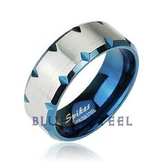 PIN IT TO WIN IT! Blue Magma: The Blue Magma ring offers a unique industrial modern style with deep Blue IP Faceted Edge Accent of shining stainless steel. The edge of this flat band styled mens ring has diamond shape cuts with the reflecting pattern of Blue layered in the interior.With it's distinctive contemporary design the Blue IP Faceted Edge Accent ring is the perfect thing to add a little modern style to your everyday look. $45.99  www.buybluesteel.com