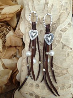Long Leather and Silver Hearts Earrings  $55.00