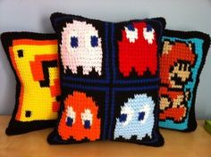 Pac Man Crocheted Pillows...These would be so fun to DIY if I had any knowledge of crochet at all.
