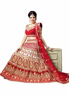 White With Red A Line Lehenga Choli Online ,Indian Dresses