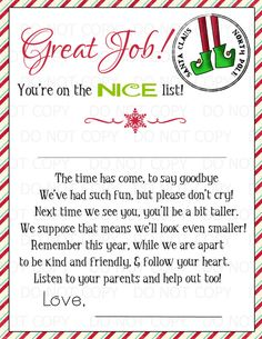 Printable Magic Elf Goodbye letter  2 or more by onelovedesignsllc