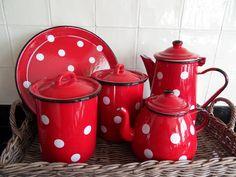 .red 'poke-ee-dots' enamleware
