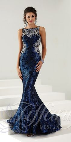 Long Sequin Celebrity Dress 16149. Colors: Electric Blue/Black. Size: 0-12