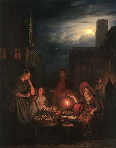 The Athenaeum - A Nightmarket with a Stallholder Offering Her Wares (Petrus van Schendel - )