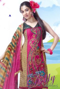 Pink & Beige Party Wear Floral Embroidered Churidar Suit