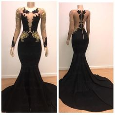 African Black Gold Mermaid Prom Dresses Long Sleeves Zipper Back Appliques Beads Sweep Train See Through Evening Party Gowns Customize Muslim Evening Dresses, Prom Dresses Long With Sleeves, Black Evening Dresses, Black Prom Dresses, Long Evening Gowns, Evening Party, Long Dresses, Gold Mermaid Prom Dresses, Prom Girl Dresses