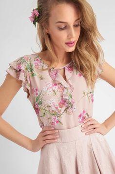 Bluză cu model floral în față și la mâneci și volănaș - Portocaliu