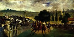 The Races at Longchamp is an 1866 painting by the French artist Édouard Manet. The Impressionist painting depicts a horse racing at Longchamp and is currently conserved at the Art Institute of Chicago. Longchamp, Henri Rousseau, Claude Monet, Eduardo Manet, Edouard Manet Paintings, Pierre Auguste Renoir, Camille Pissarro, Edgar Degas, Art Institute Of Chicago