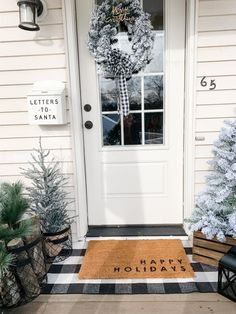 I went for a timeless winter porch look this year. Something that is simple yet festive and will look great all Winter long. If you are a lover of everything flocked and neutral you are going to want to check this out! #farmhouseporch #winterdecor #winterporch #farmhousedecor Christmas Tree In Urn, Christmas Bedroom, Christmas Time, Christmas Decorations, Xmas, Holiday Decor, Holiday Ideas, Decorating Blogs, Porch Decorating