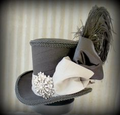 Moulin Rouge Mini Top Hat, Ring Master, Tea Party Mini Top Hat, Mad Hatter Hat, Alice in Wonderland, LARP, Renaissance Hat, Red Rose on Etsy, $62.00