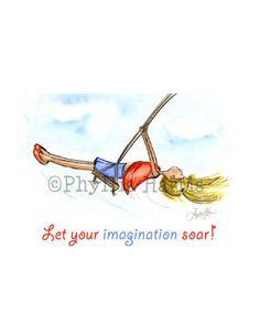 Little Girl Swinging - Children's Wall Art